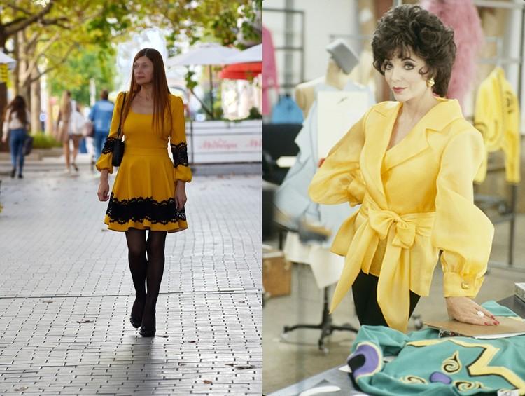Слева: Так одевалась в сериале 80-х годов «Династия» Джоан Коллинз, справа: а вот и сама Джоан