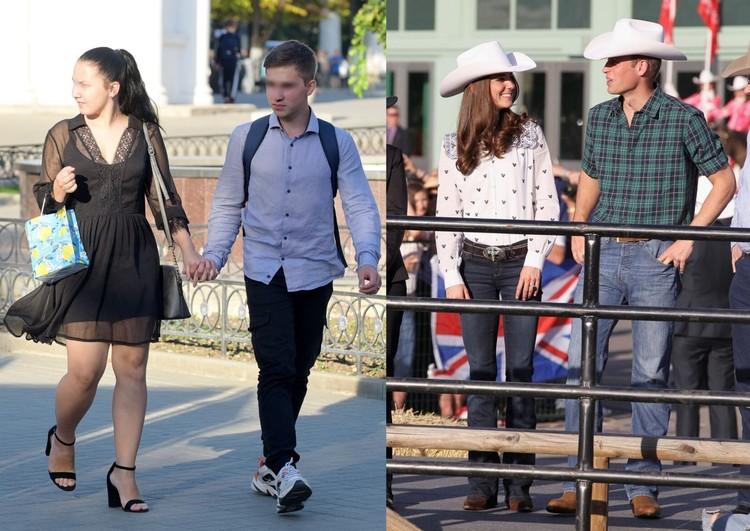 Слева: По стилю пара друг с другом не гармонирует, справа: а вот хороший пример дабл-дрессинга Кейт Миддлтон и принц Уильям
