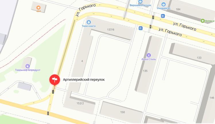 Светофор в створе Петербургского шоссе - пересечение с Артиллерийским переулком. Графика: yandex.ru/maps