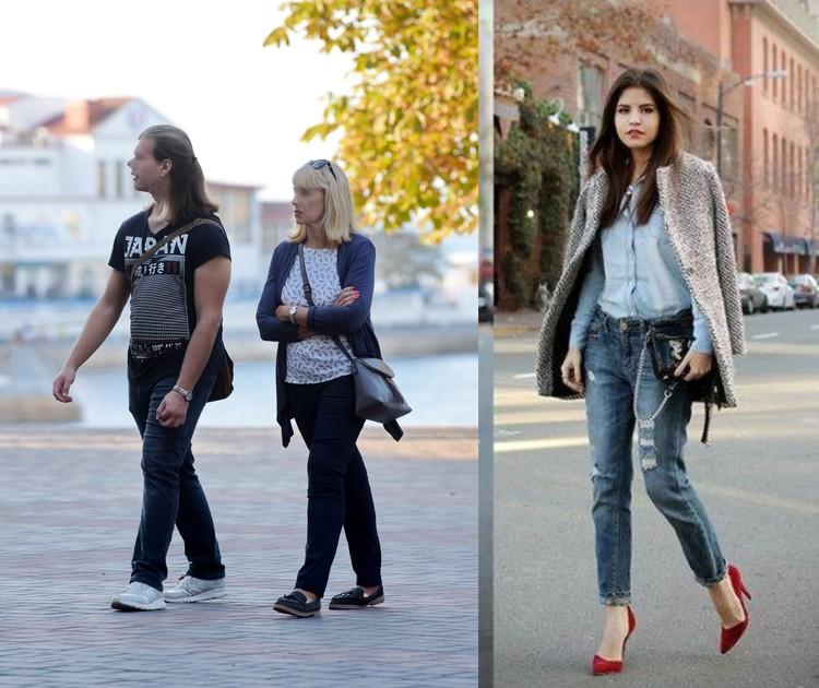 Слева: Кэжуал мимо моды, справа: стиль кэжуал будет смотреться более эффектно, если вместо кроссовок надеть каблуки
