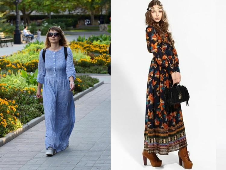Слева: Образ девушки портит рюкзак за спиной, справа: длинное платье с такой обувью смотрится гораздо лучше