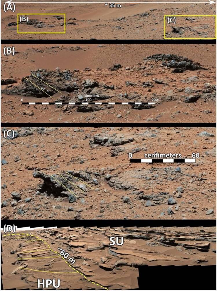 Гребни, которые оставили на поверхности Марса бурные потоки воды.