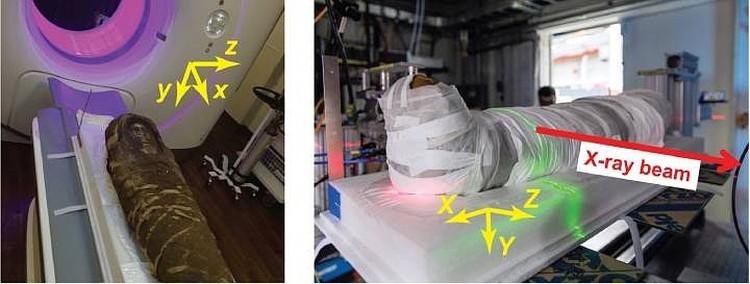 Саркофаг в томографе и под рентгеновскими лучами. Фото: royalsocietypublishing.org