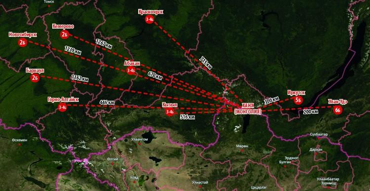 Карта землетрясения 12 января 2021 года в Сибири. Фото: Алла ОВЧИННИКОВА.