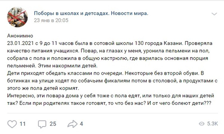 Несмотря на анонимность автора, в управлении образования Казани к сообщению отнеслись серьезно.