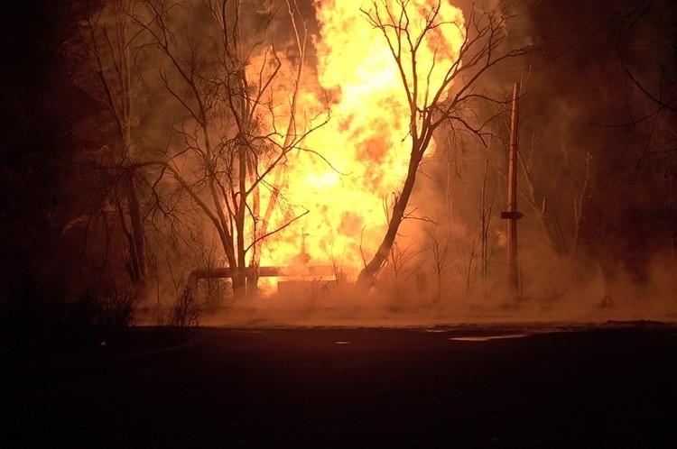 Высота пламени достигала 20 метров. Фото: МЧС ЛНР