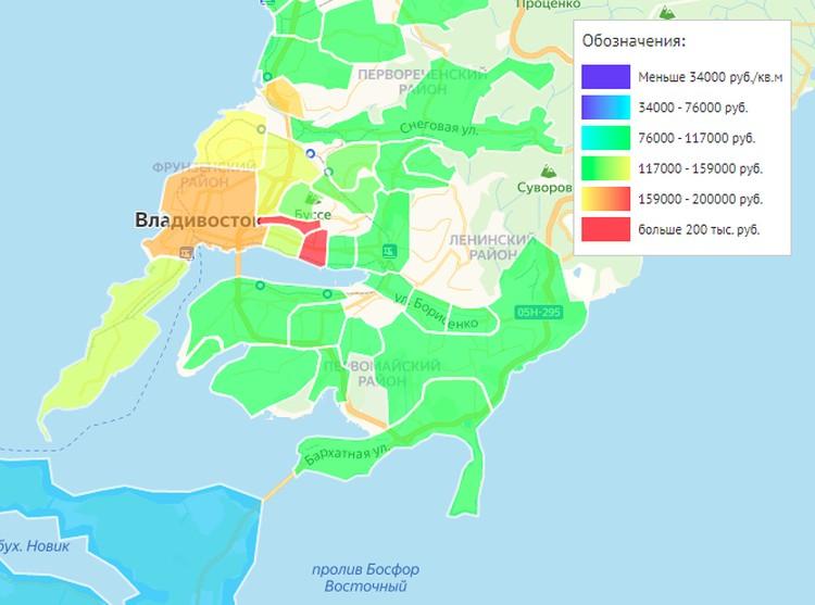 Тепловая карта цен на недвижимость во Владивостоке. Схема: сайт https://vl.etagi.com