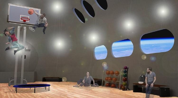 В спортзале будет интересно поиграть в земные игры при лунной силе тяжести.