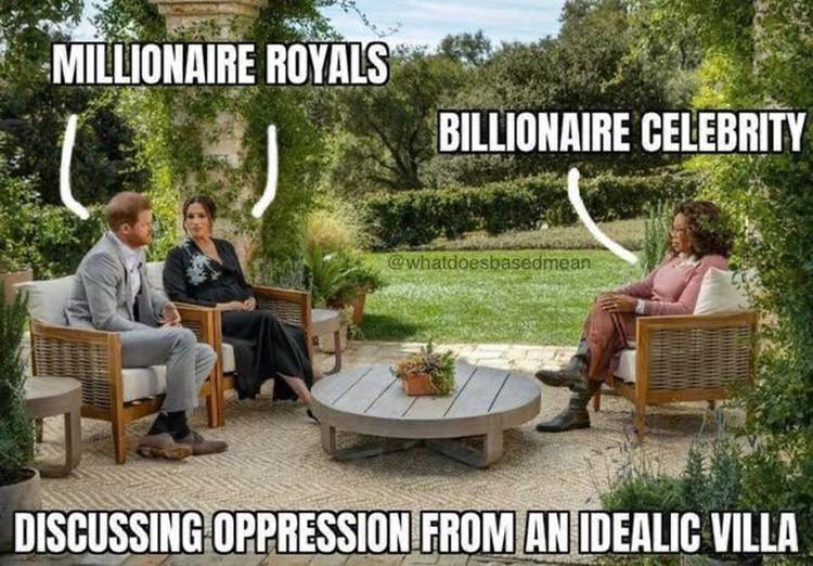 Миллионеры из королевской семьи обсуждают с миллиардершей-звездой угнетение, сидя в идиллического вида вилле