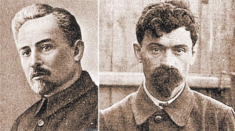 Организатор расстрела царской семьи, член президиума Уралоблсовета Филипп Голощекин (фото слева) и комендант дома Ипатьева Яков Юровский, руководивший расстрельной командой.
