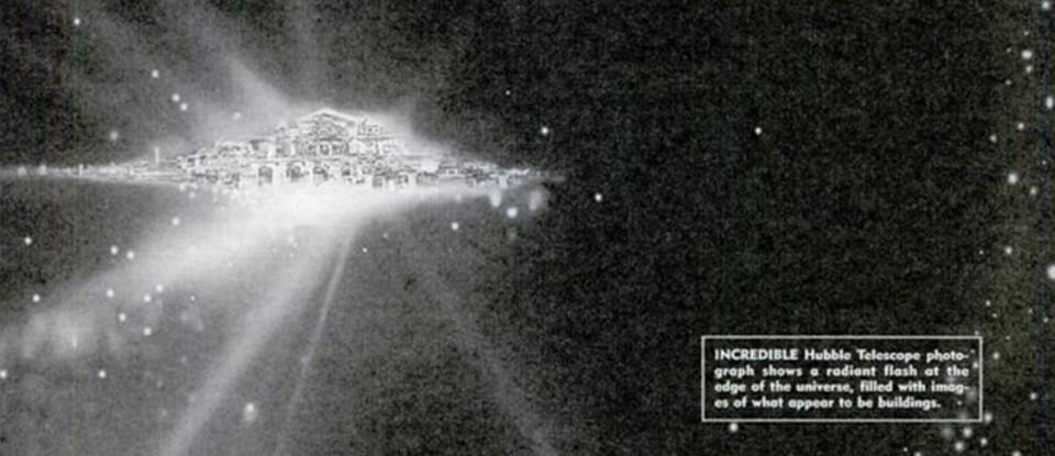 Черно-белая иллюстрация, естественно сфабрикованная: именно она сопровождала фейковую сатью про рай на краю Вселенной, в котором мог бы жить и сам Бог.